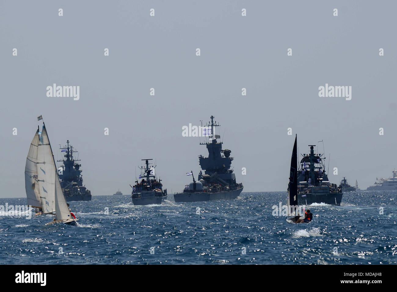 Tel Aviv  19th Apr, 2018  Israeli navy ships participate in