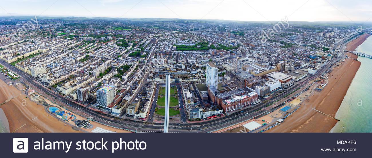 aerial panaromic view for brighton - england - Stock Image