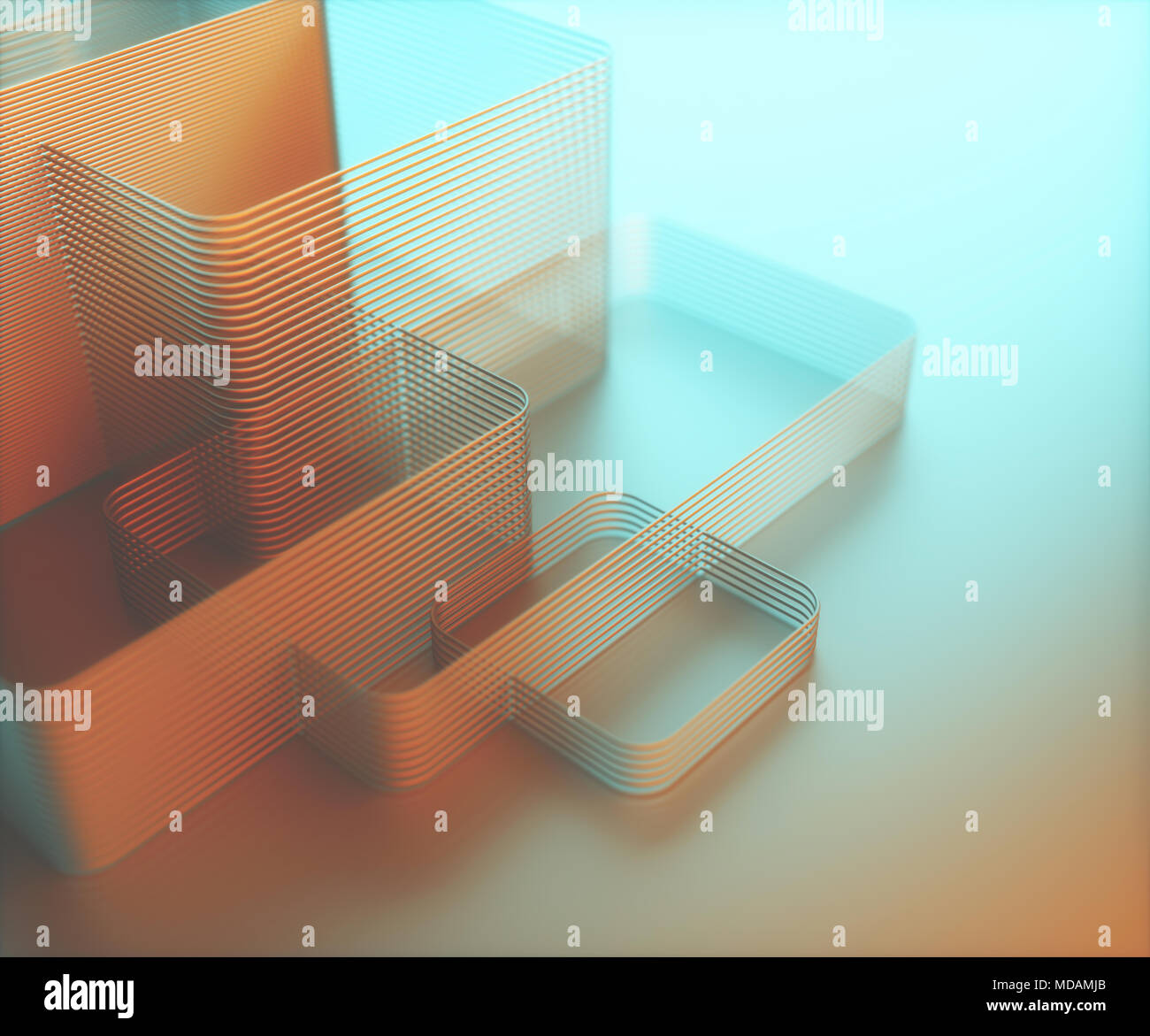 3D illustration. Artistic abstract tubular structure. Image with light and colorful shadow in blue and orange. - Stock Image