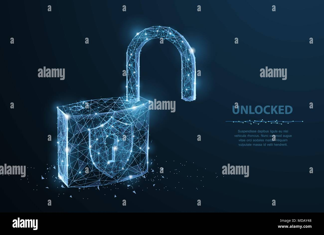 Lock. Polygonal wireframe mesh on dark blue night sky with dots and stars. Concept illustration or background - Stock Vector