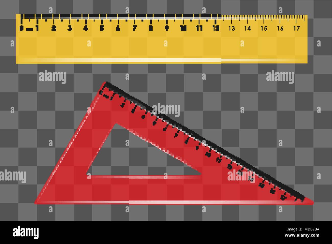 ruler set square on transparent background vector - Stock Vector