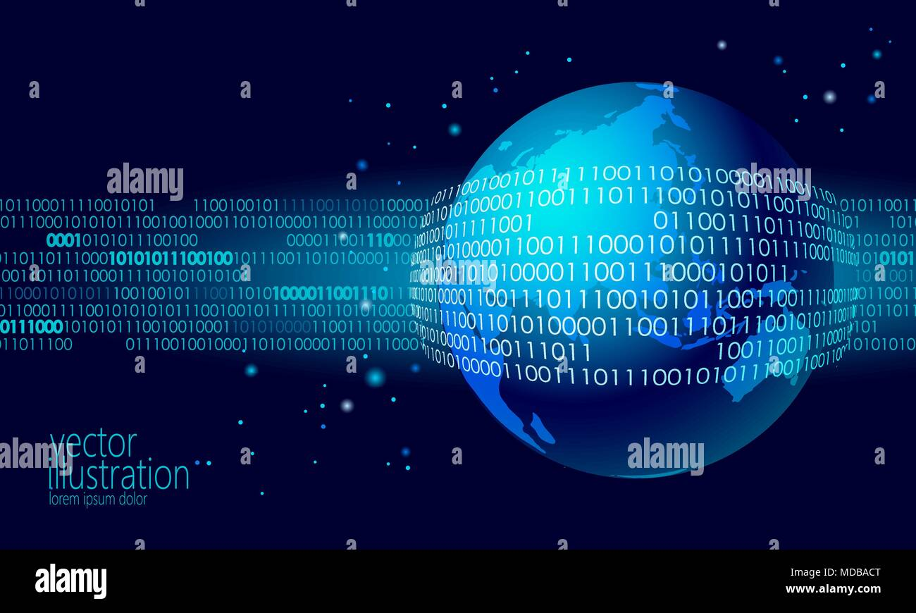 Planet earth global data exchange binary code security payment security payment personal information cyber attack blue glowing business concept world map asia europa australia india china japan vector illustration gumiabroncs Images