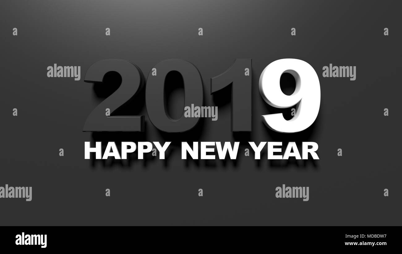 happy new year 2019 message on black background 3d illustration