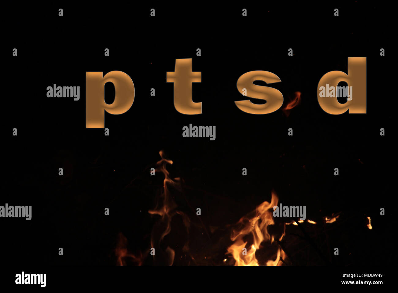 PTSD Medical abbreviation or acronym of post traumatic stress syndrome, mental disorder caused by traumatic events. Word PTSD on fire background,image - Stock Image