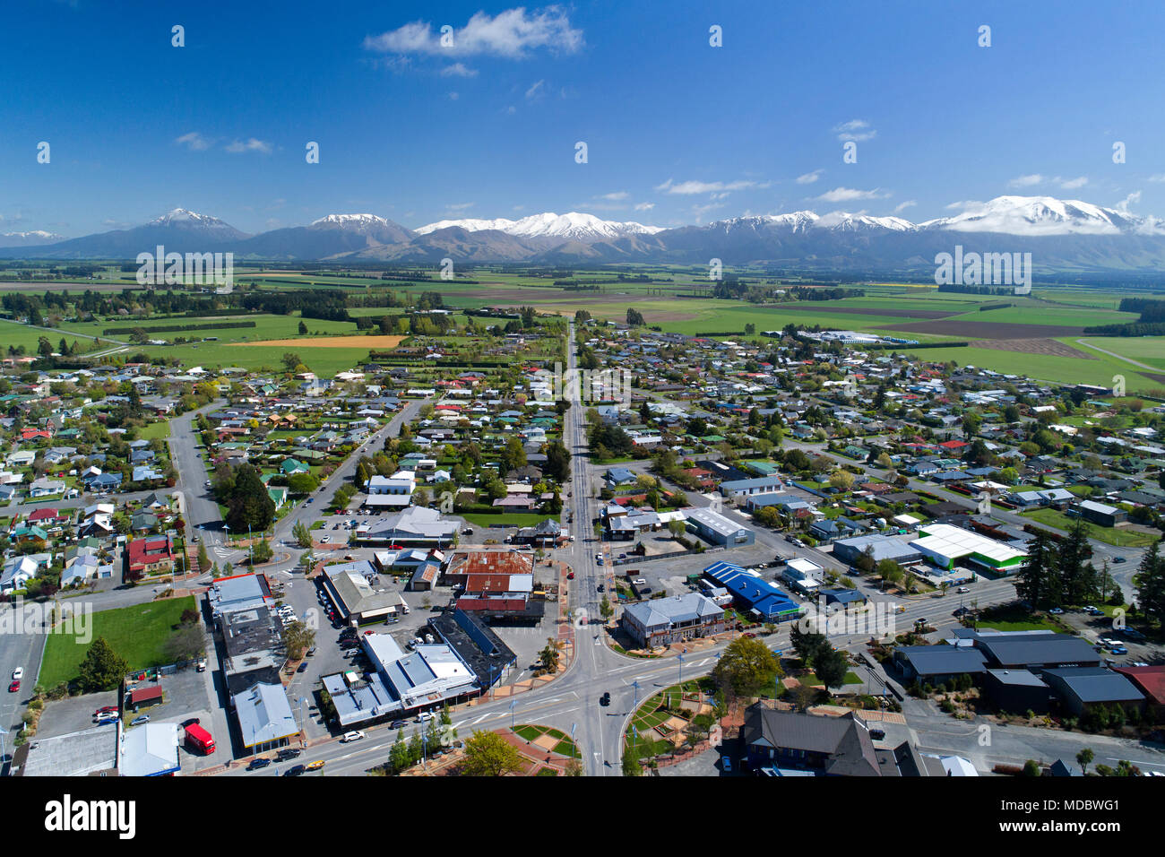 Methven, Mid Canterbury, South Island, New Zealand - drone aerial - Stock Image
