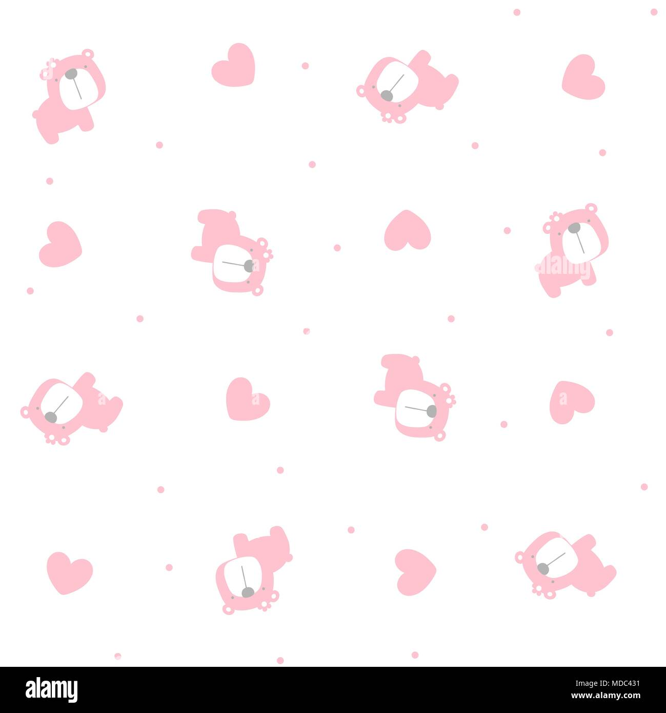 cute baby girl bear seamless pattern with hearts on white background
