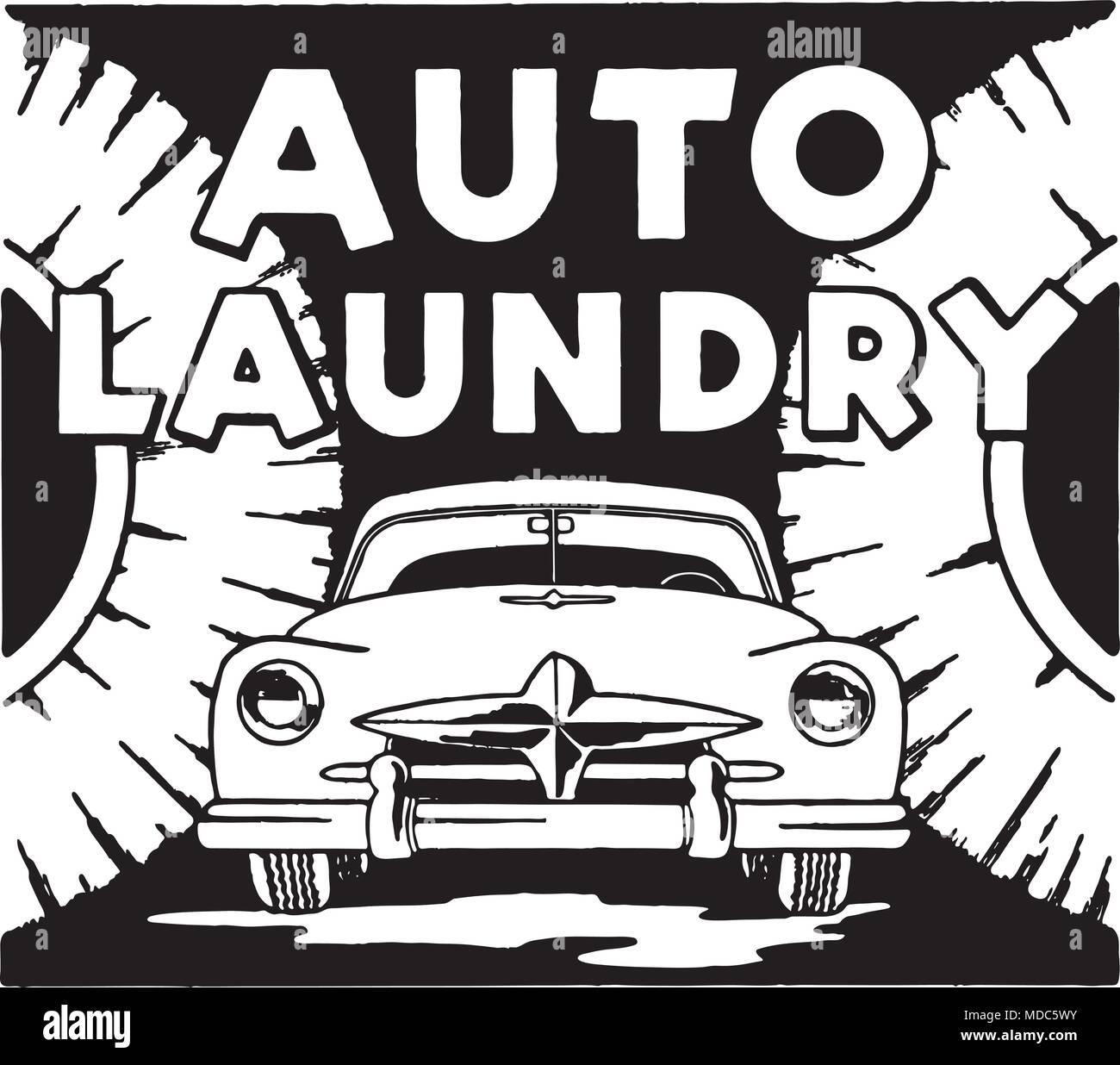 Auto Laundry - Retro Ad Art Banner - Stock Vector
