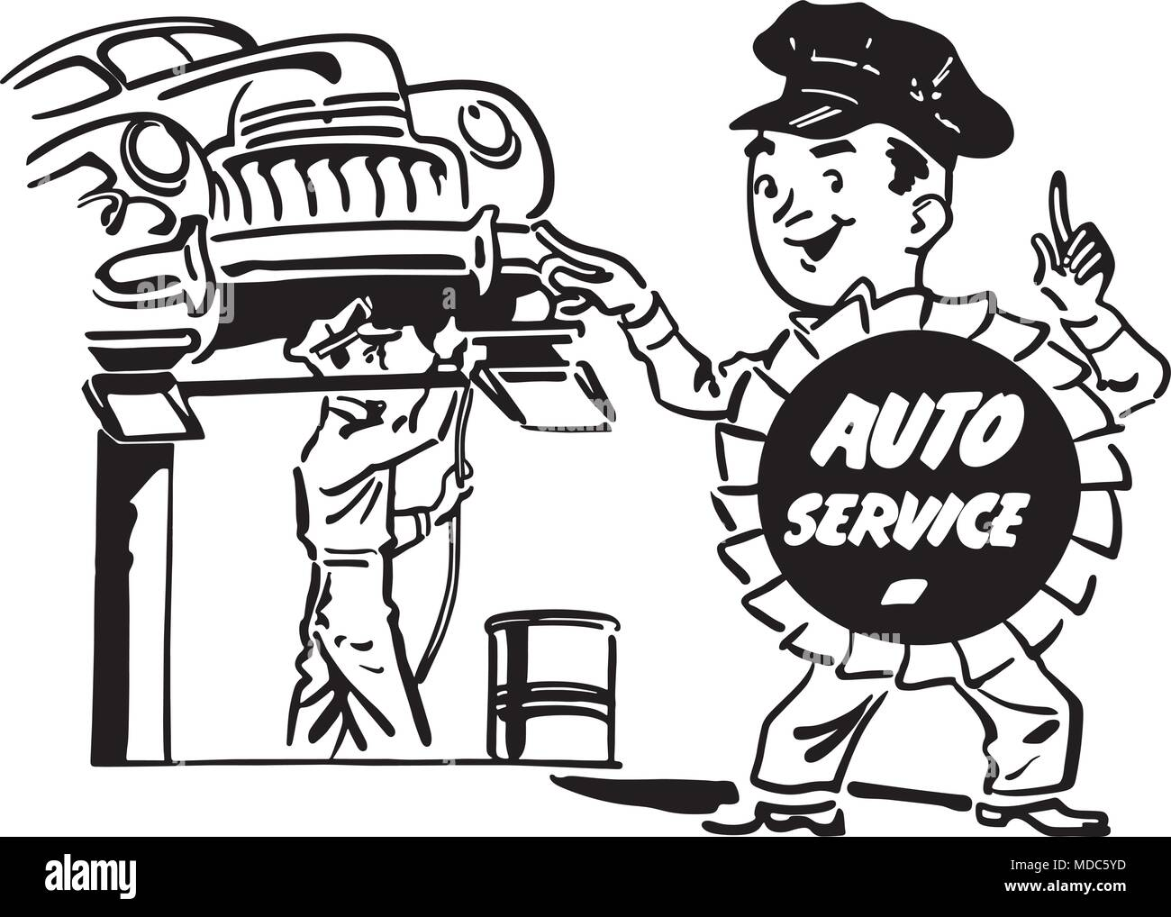 automobile repair shop retro clipart banner stock vector art