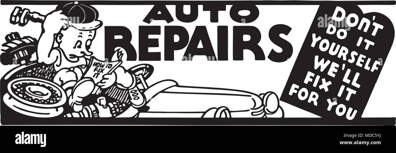 Auto Repairs - Retro Ad Art Banner - Stock Vector
