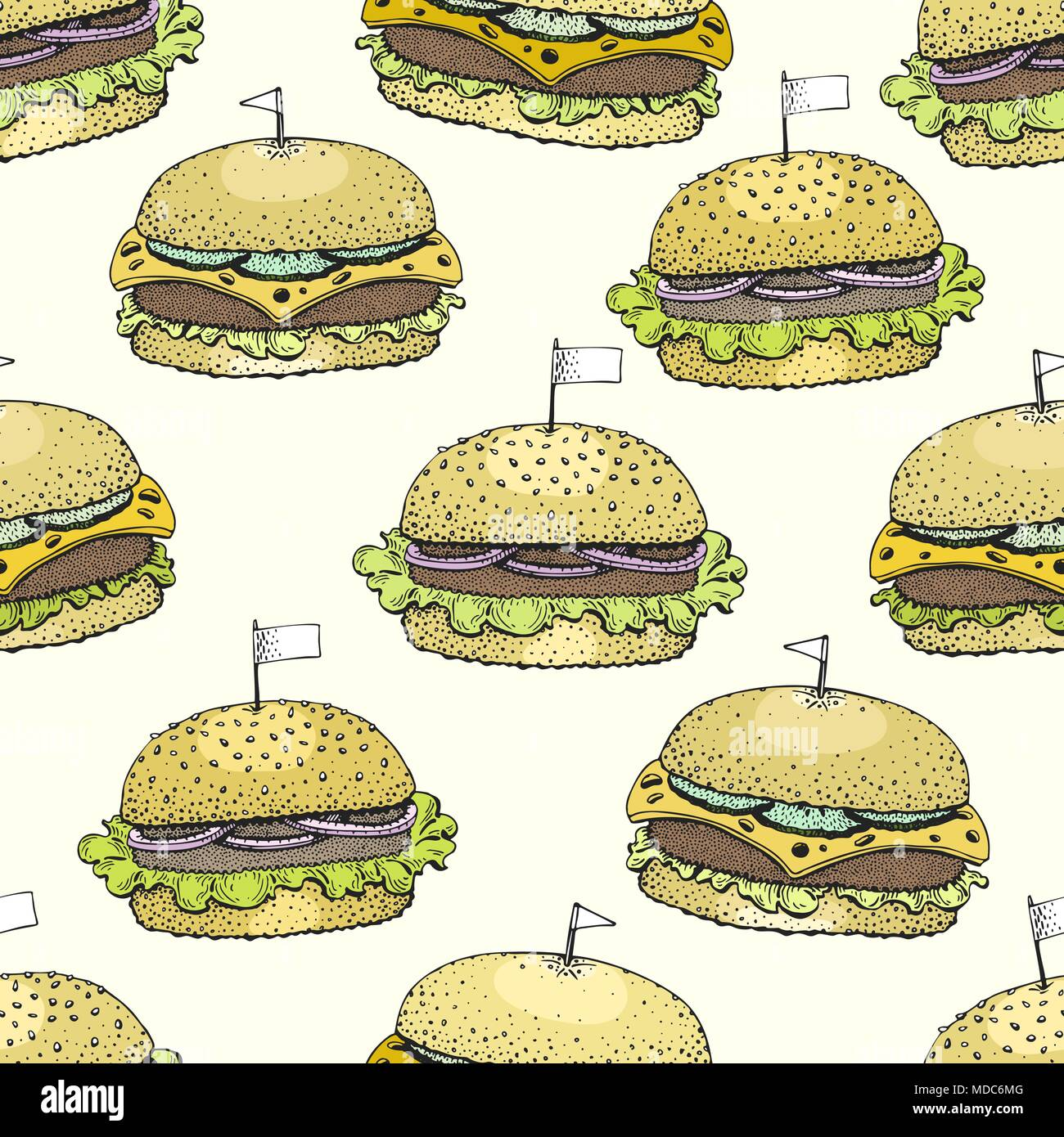 vector seamless pattern with burgers. hand drawn vector background