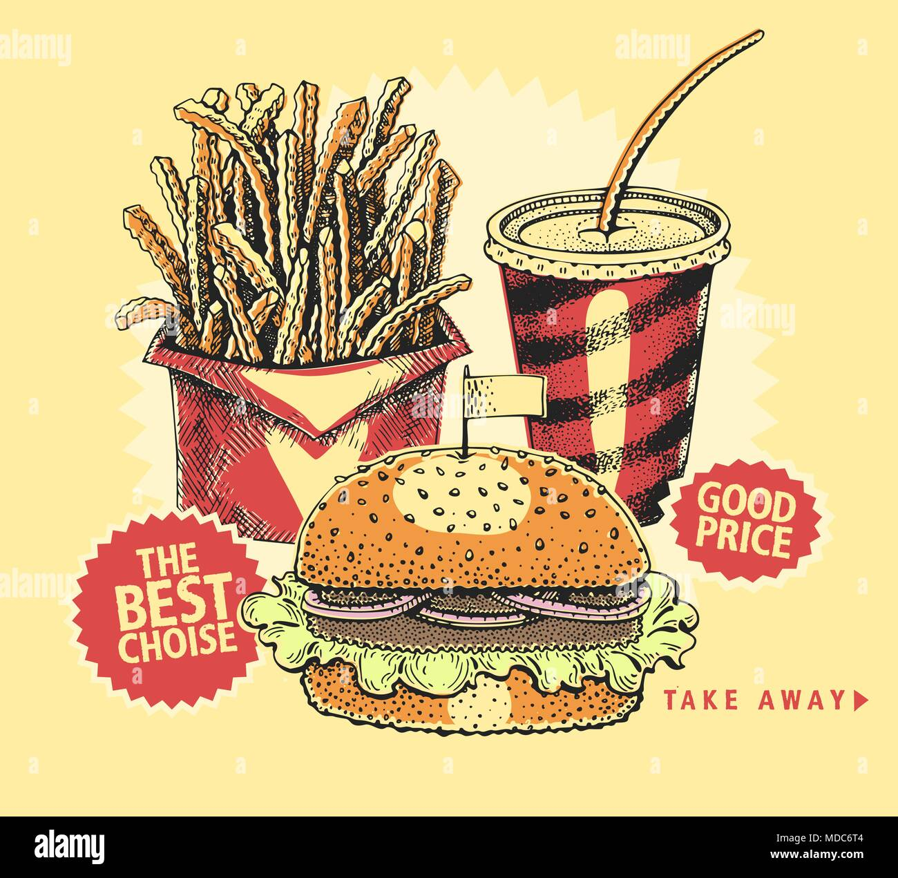 backgrounds with a hamburger, french fries, and cola. sketch style