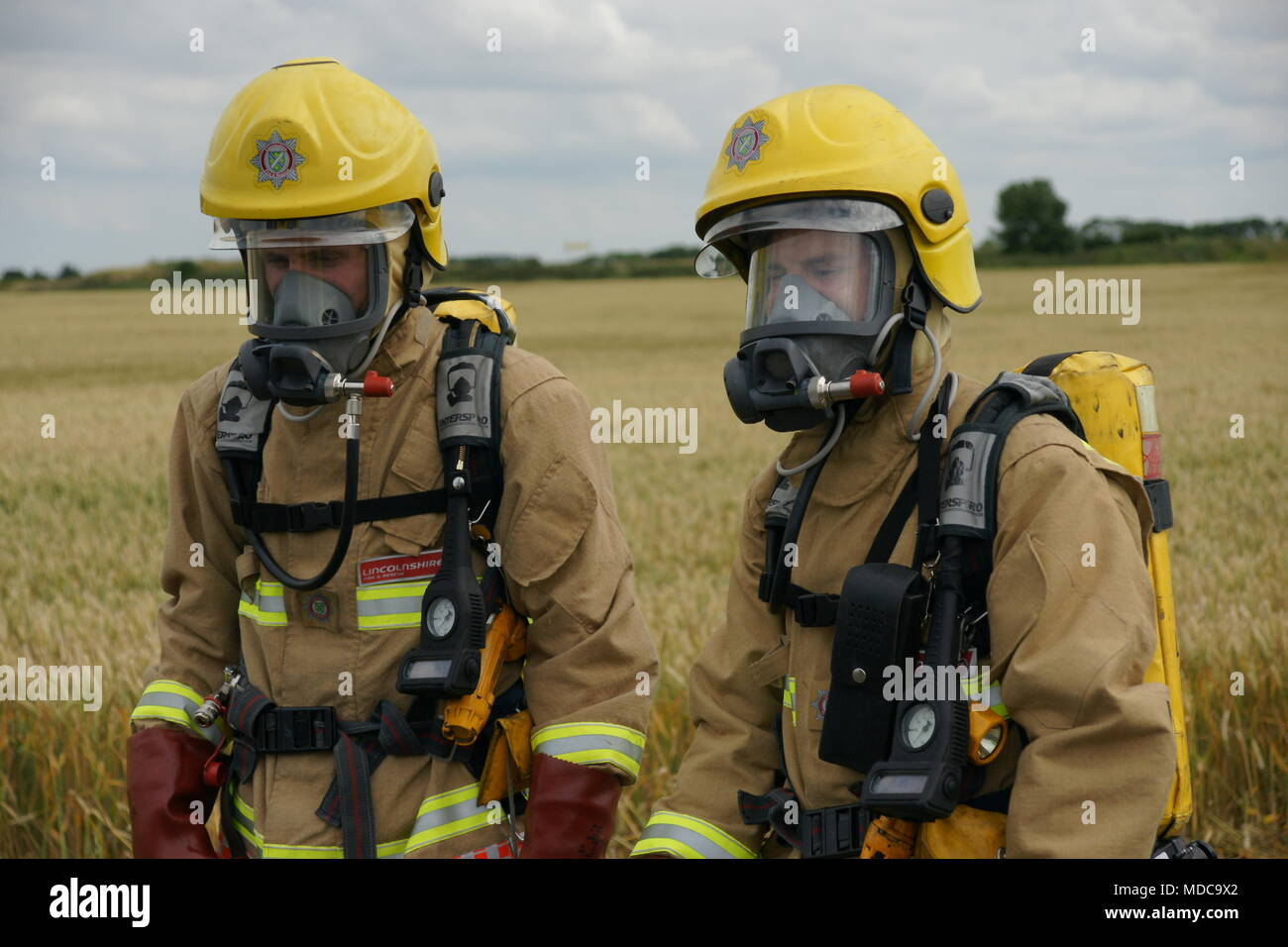 chemical incident, risk of  explosion, disaster zone - Stock Image