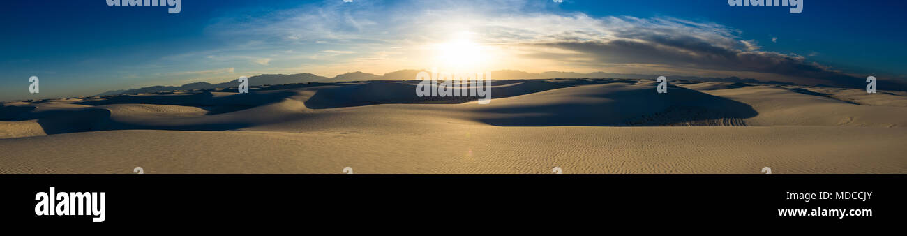 The unique and beautiful White Sands National Monument in New Mexico.This gypsum dune field is the largest of its kind in the world. Located in Southe - Stock Image