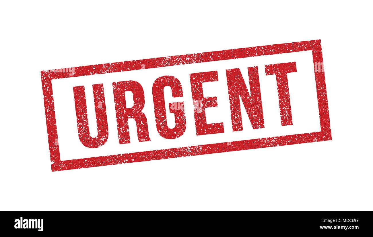 Vector illustration of Urgent red ink stamp - Stock Image