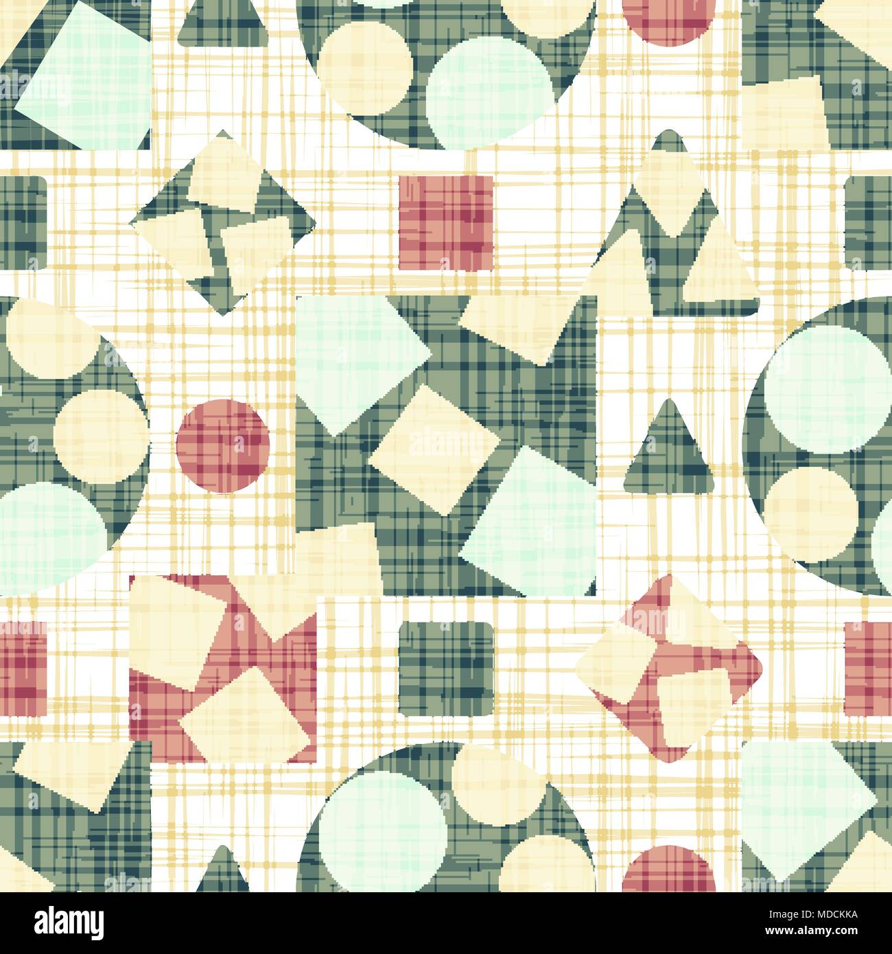 Retro design tissue with geometric shapes. - Stock Image