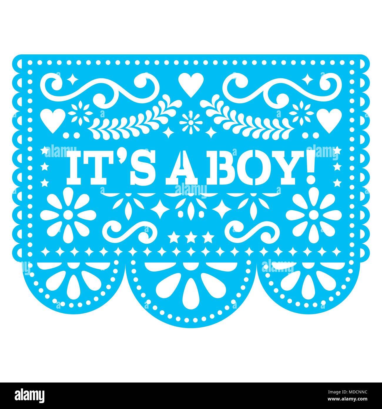 Its A Boy Papel Picado Vector Design Mexican Folk Art Baby Birth