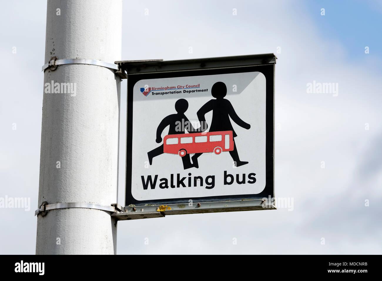 Walking bus sign, Birmingham, West Midlands, UK - Stock Image