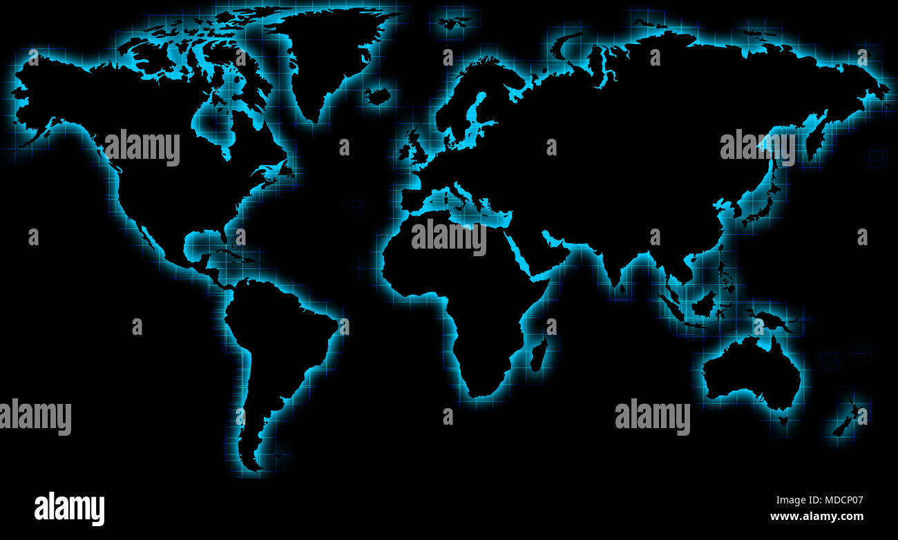World map black and white countries stock photos world map black black world map with blue glow stock image gumiabroncs Choice Image