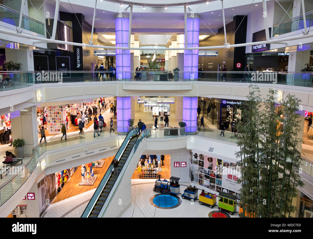 Metropolis at Metrotown shopping mall in Burnaby, BC, Canada.  Interior of a large shopping centre in Metro Vancouver. - Stock Image