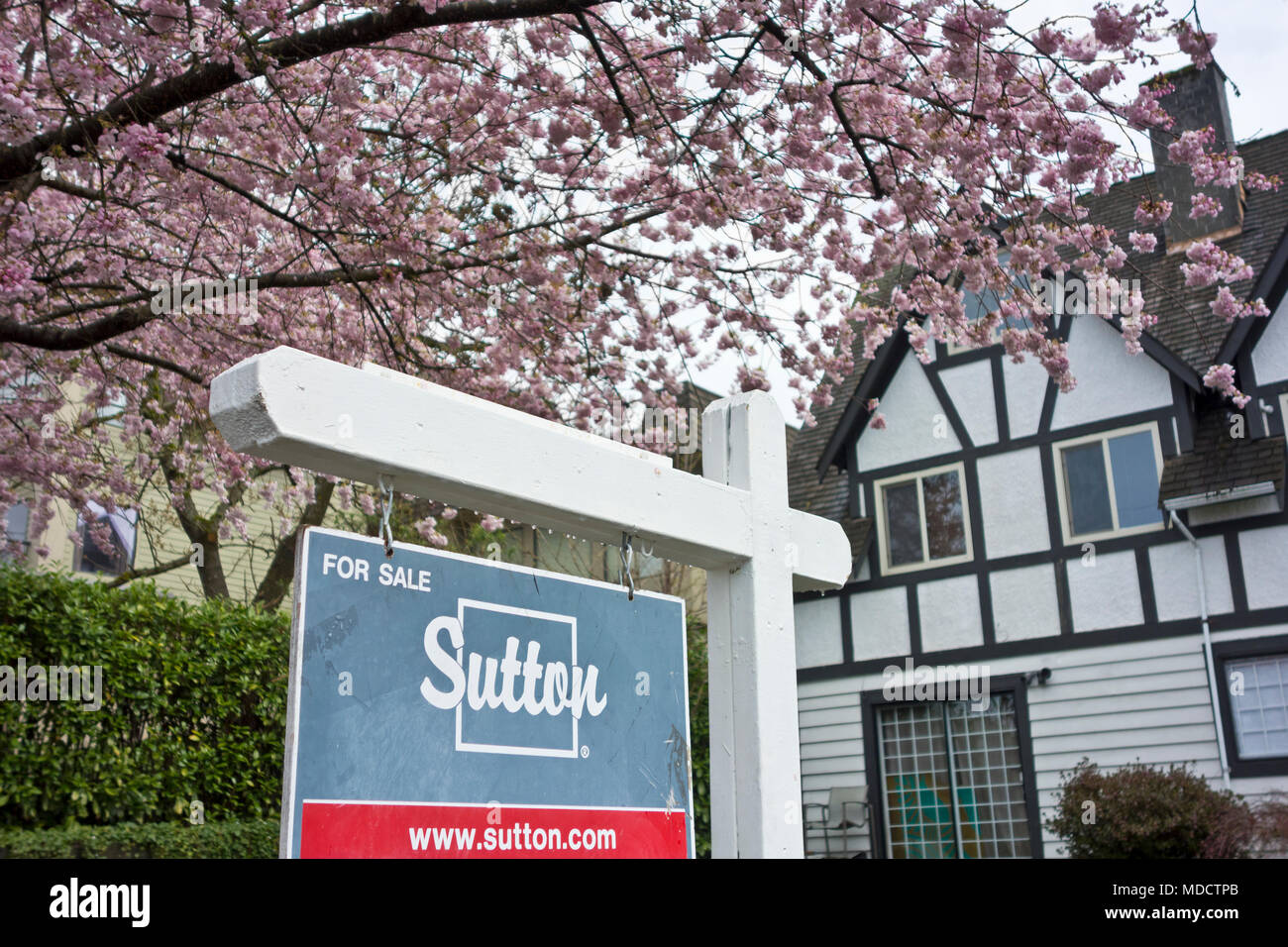 House for sale in the Capitol Hill neighbourhood of North Burnaby, in Metro Vancouver, BC, Canada. - Stock Image