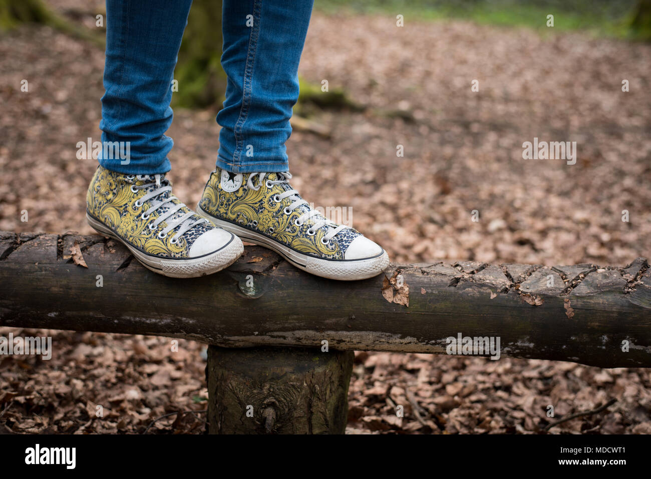 e76ced051438 View of girl s feet in yellow converse trainers as she balances on a log in  a children s playground on Dunstable Downs