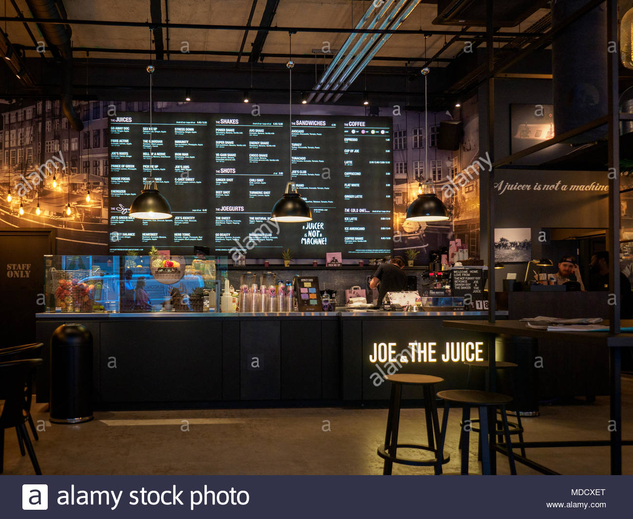 Joe and the Juice coffee & juice bar - interior of a Joe and the Juice coffee bar in London UK. The Danish based company is undergoing rapid expansion. - Stock Image