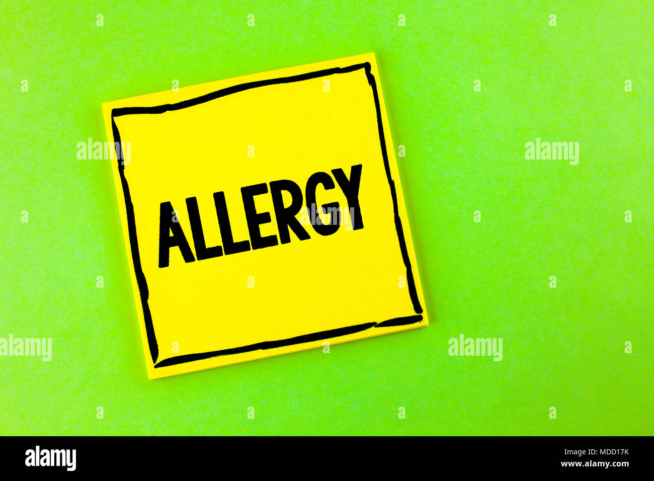 Handwriting text Allergy. Concept meaning damages in immunity due to hypersensitivity get it diagnised written Yellow Sticky Note Paper the plain back Stock Photo