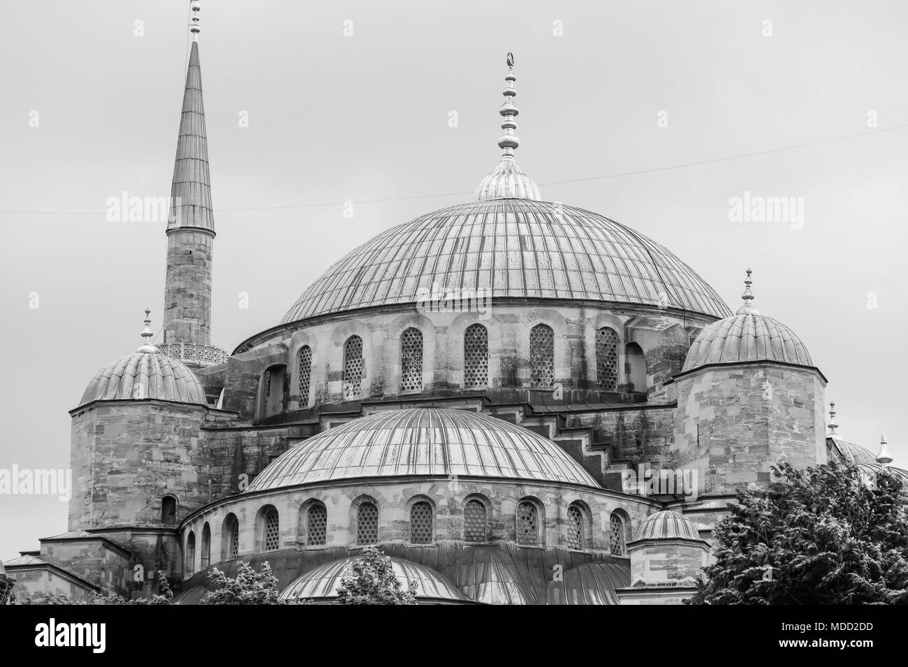 The Blue Mosque, (Sultanahmet Camii), Istanbul, Turkey. Monochromatic picture. - Stock Image