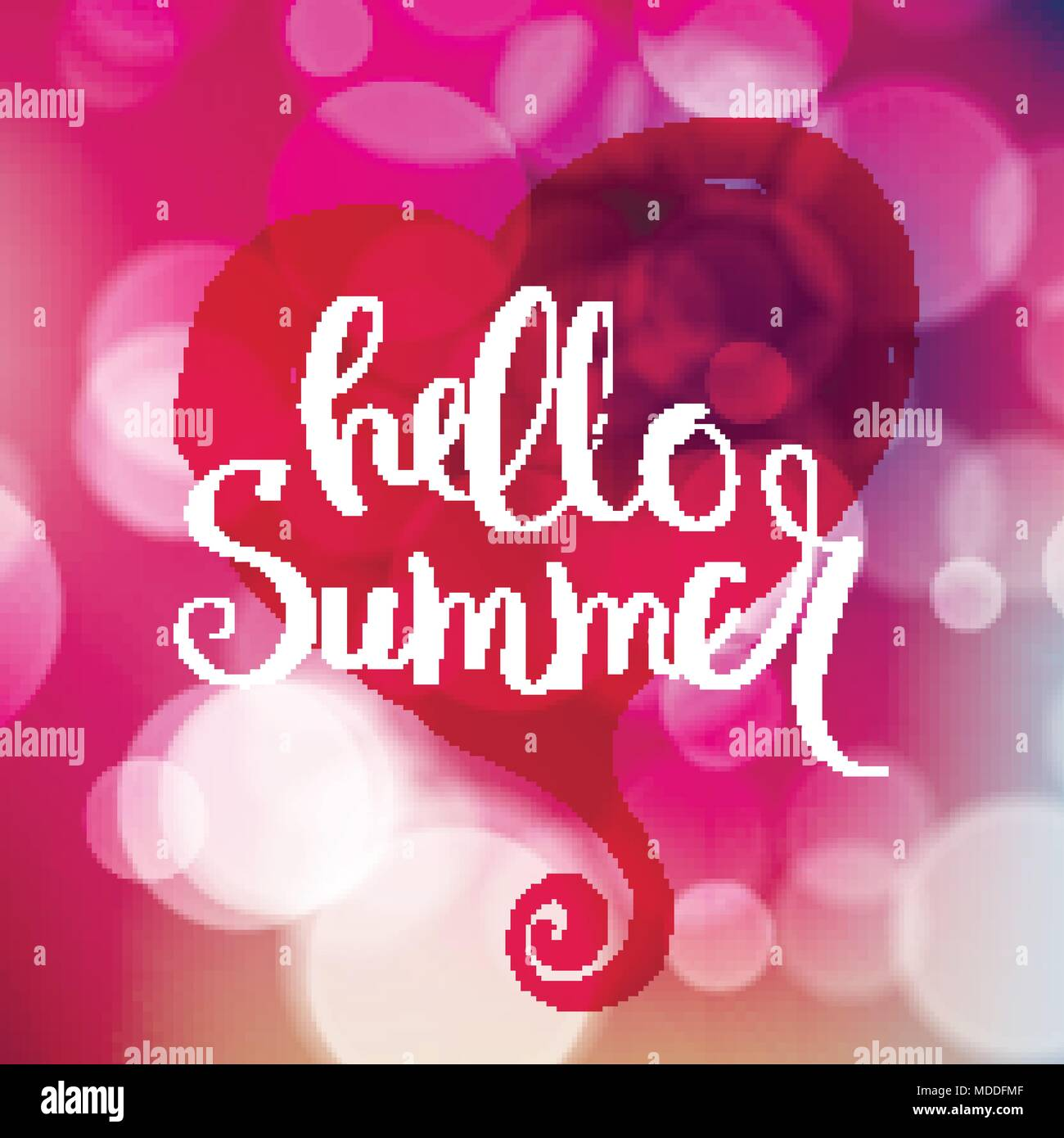 Hello Summer. Hand Drawn Motivation Quote On Blurred Background. Creative  Vector Typography Concept For