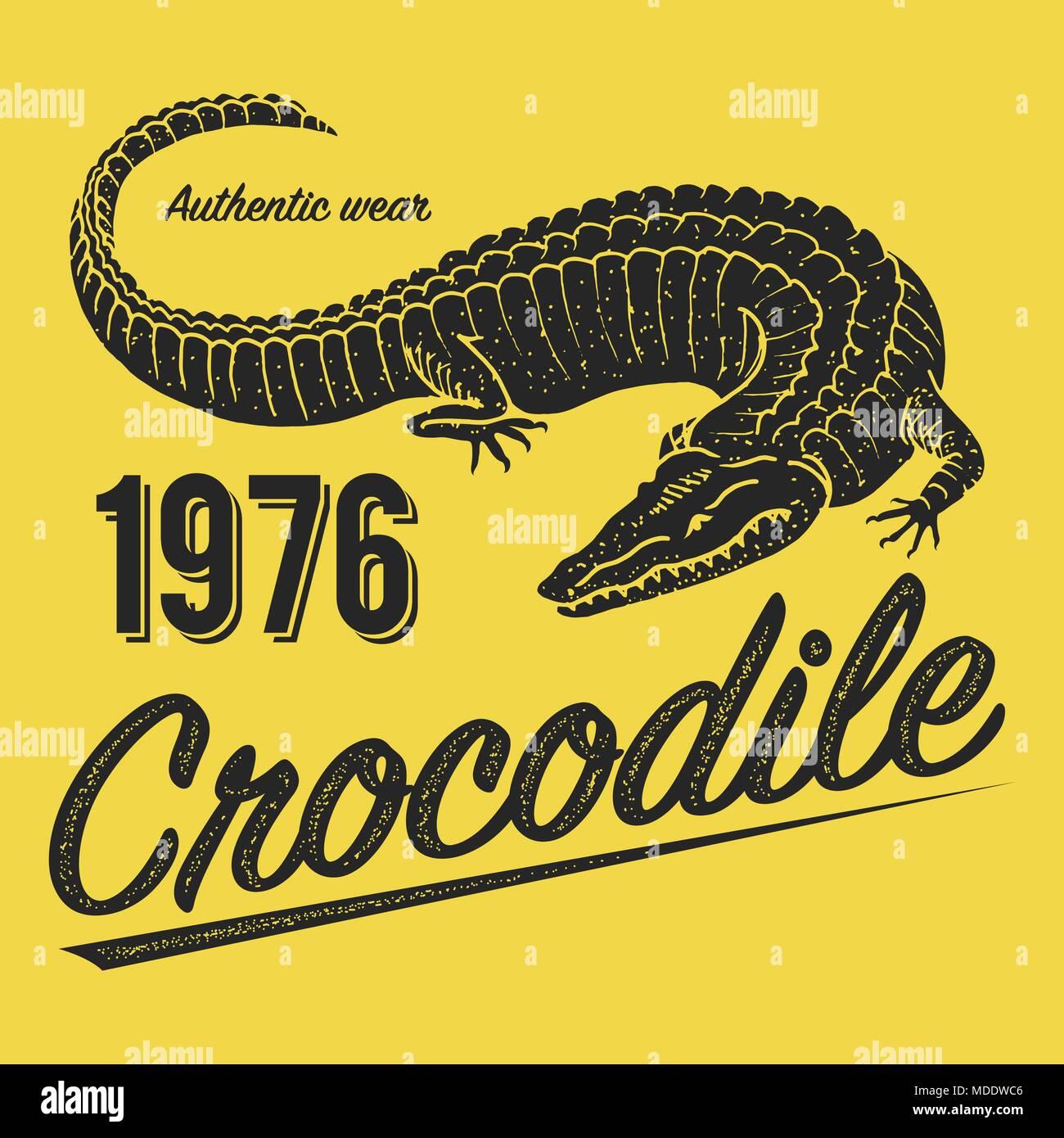 Crocodile Poster Print For T Shirt Alligator Emblem Or Badge On