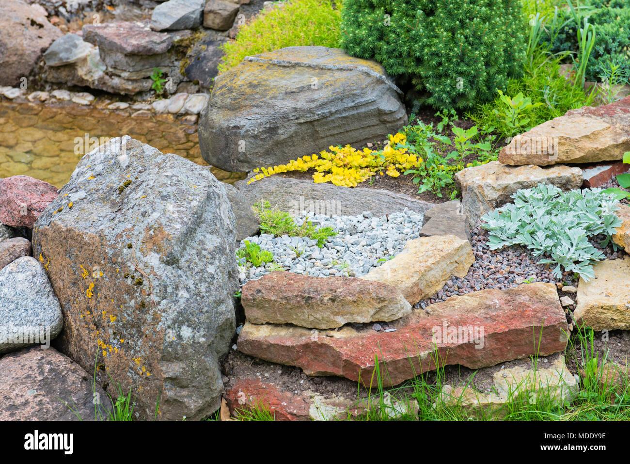 Modern Garden Design Rock Garden In Summer Stock Photo 180401018