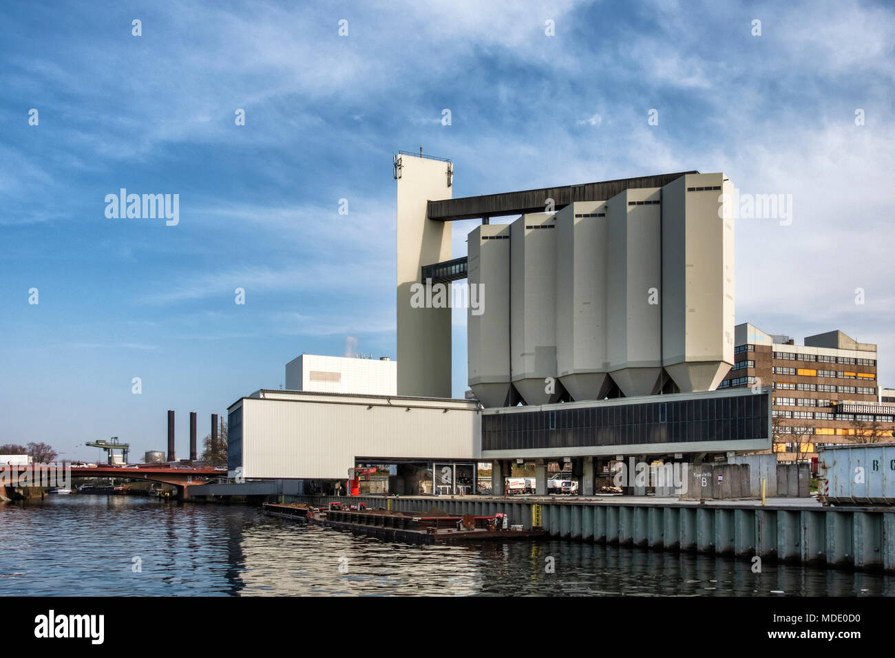 Berlin-Moabit,Berlin-Spandau shipping canal. Urban landscape view of industrial architecture. Silo and power station buildings Stock Photo