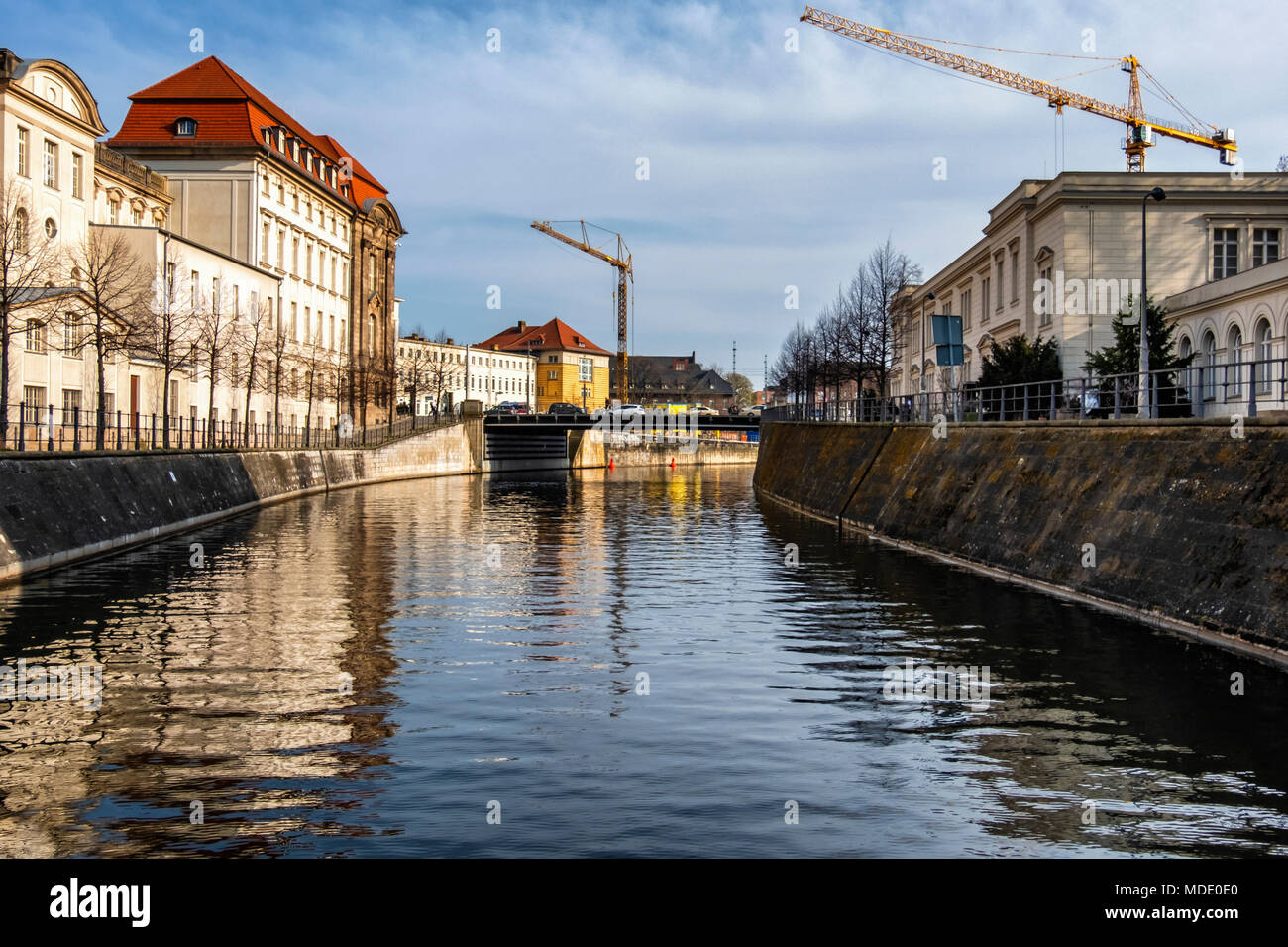 Berlin,Mitte,Spandau canal view with Federal Ministry of Economic Affairs & Energy & Hamburger Bahnhof Art Museum buildings - Stock Image
