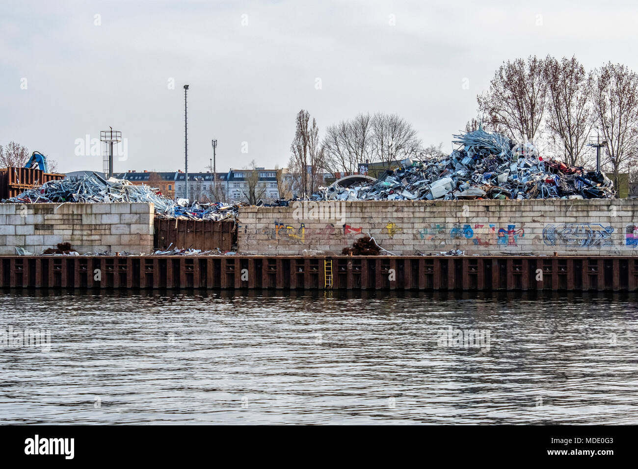 Berlin-Moabit,Westhafen,West Harbour, Piles of metal for recycling at recycling plant Stock Photo
