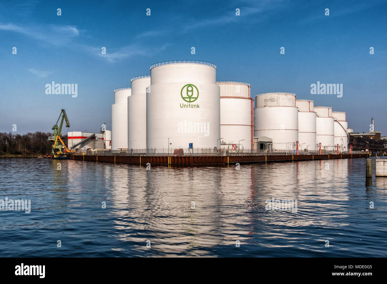 Berlin-Moabit,Westhafen,West Harbour, UNITANK tank farm business for the storage and product handling of mineral oil products Stock Photo