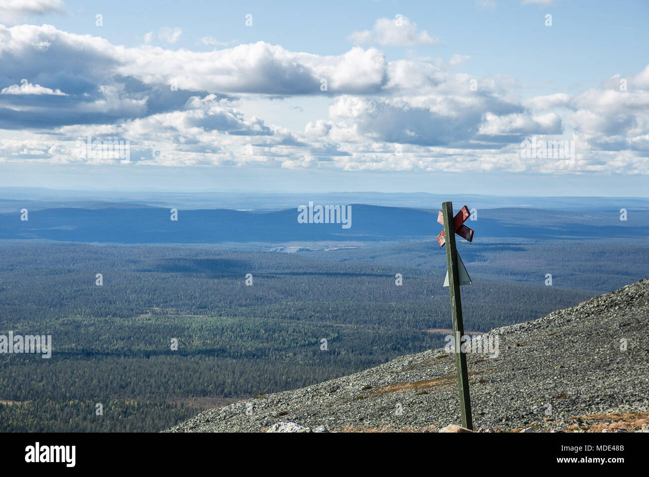 Landscape in Lapland, Finland taken on top of the mountain of Ylläs - Stock Image