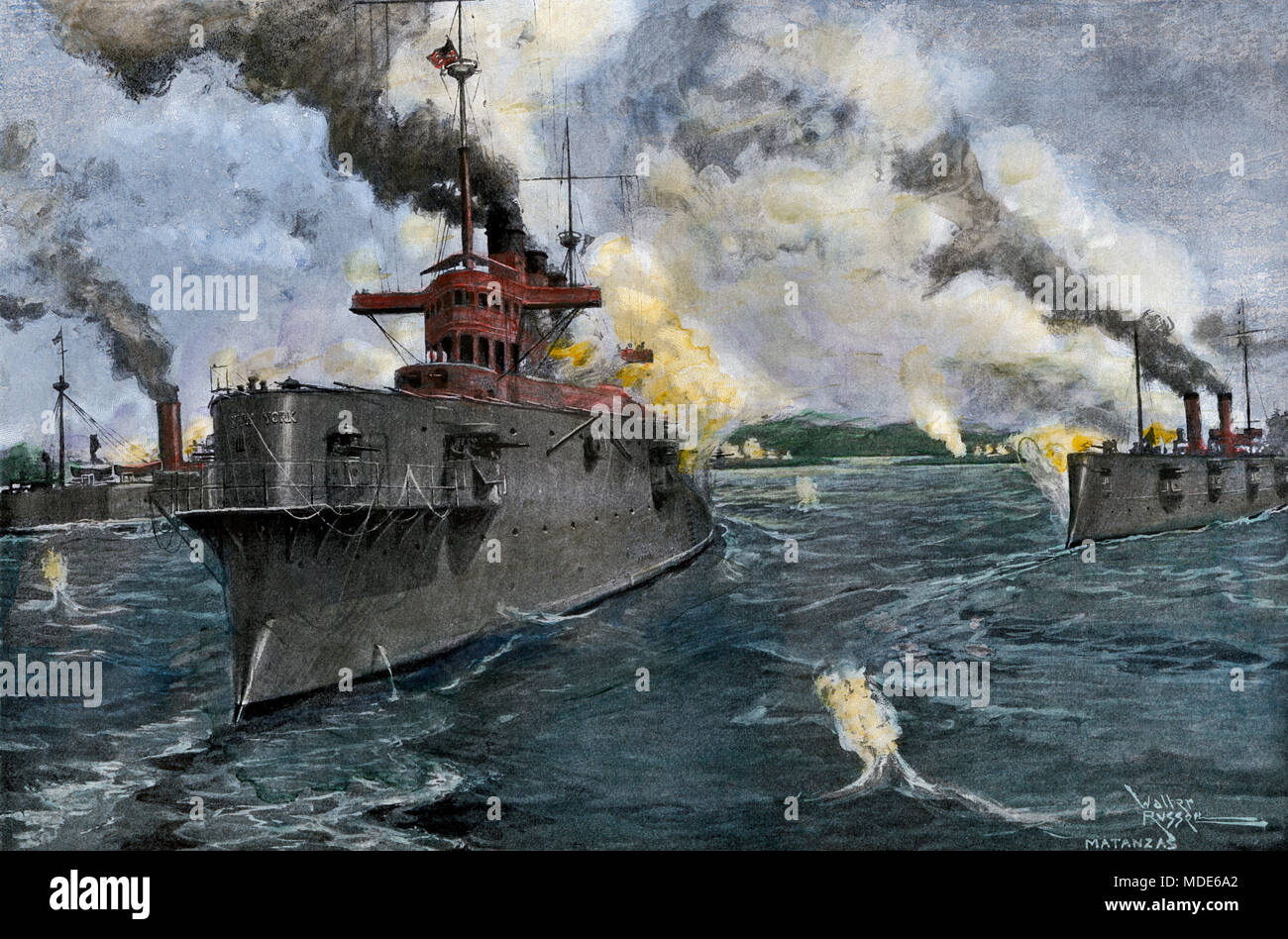 US naval bombardment of Matanzas, Cuba, during the Spanish-American War, 1898. Hand-colored halftone of an illustration - Stock Image