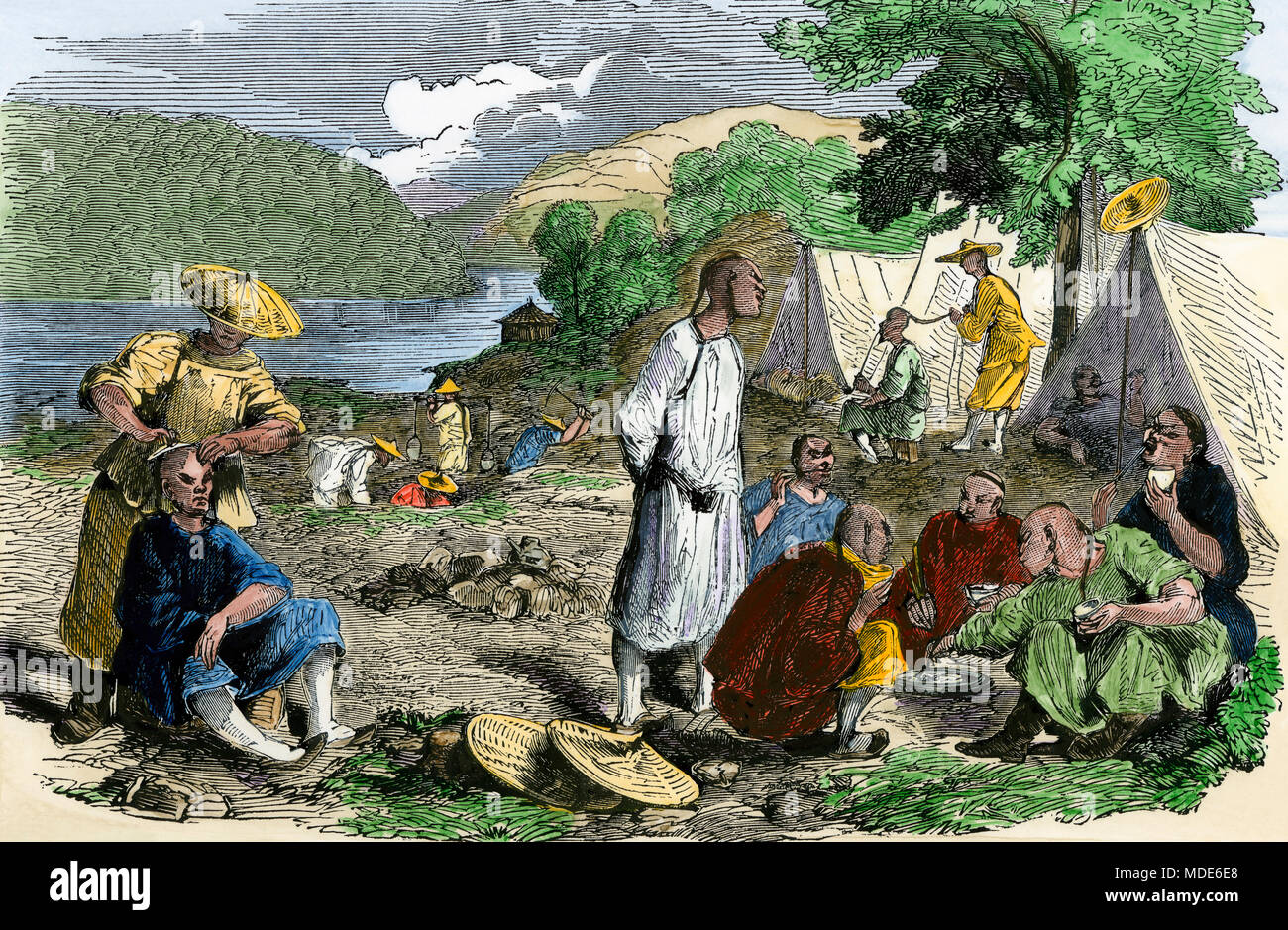 Chinese immigrant prospectors' camp in the California Gold Rush, 1850s. Hand-colored woodcut - Stock Image