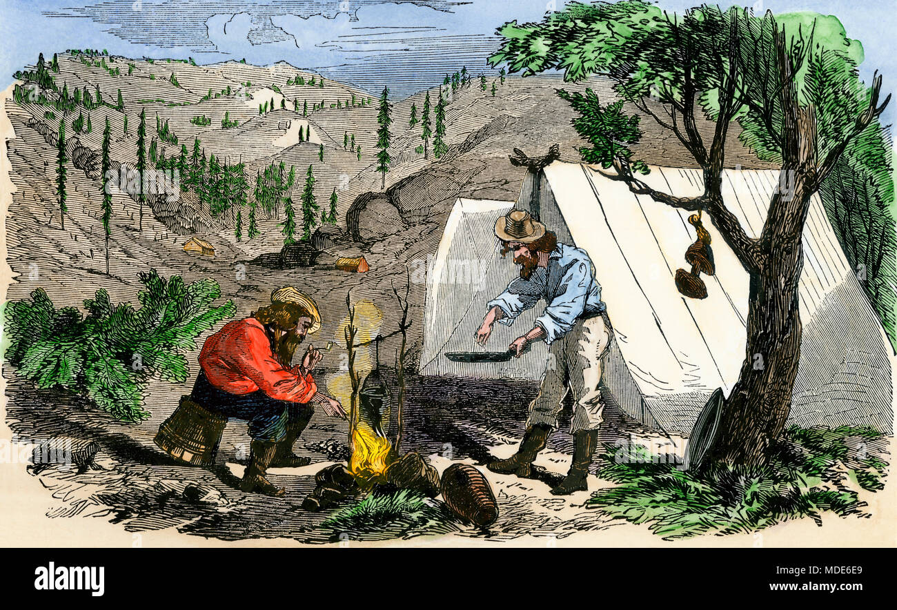 Prospectors in camp during the California Gold Rush, 1850s. Hand-colored woodcut - Stock Image