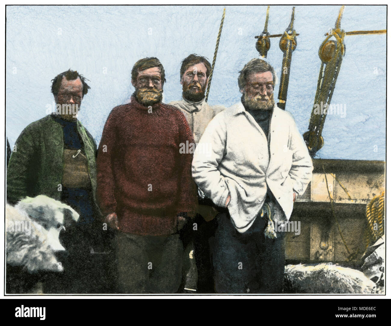 Shackleton and men upon return to the Nimrod after their Antarctic attempt, 1907-08. Hand-colored halftone of a photograph - Stock Image