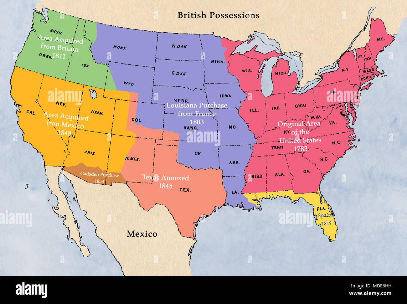 Map of territorial acquisition by the United States ...