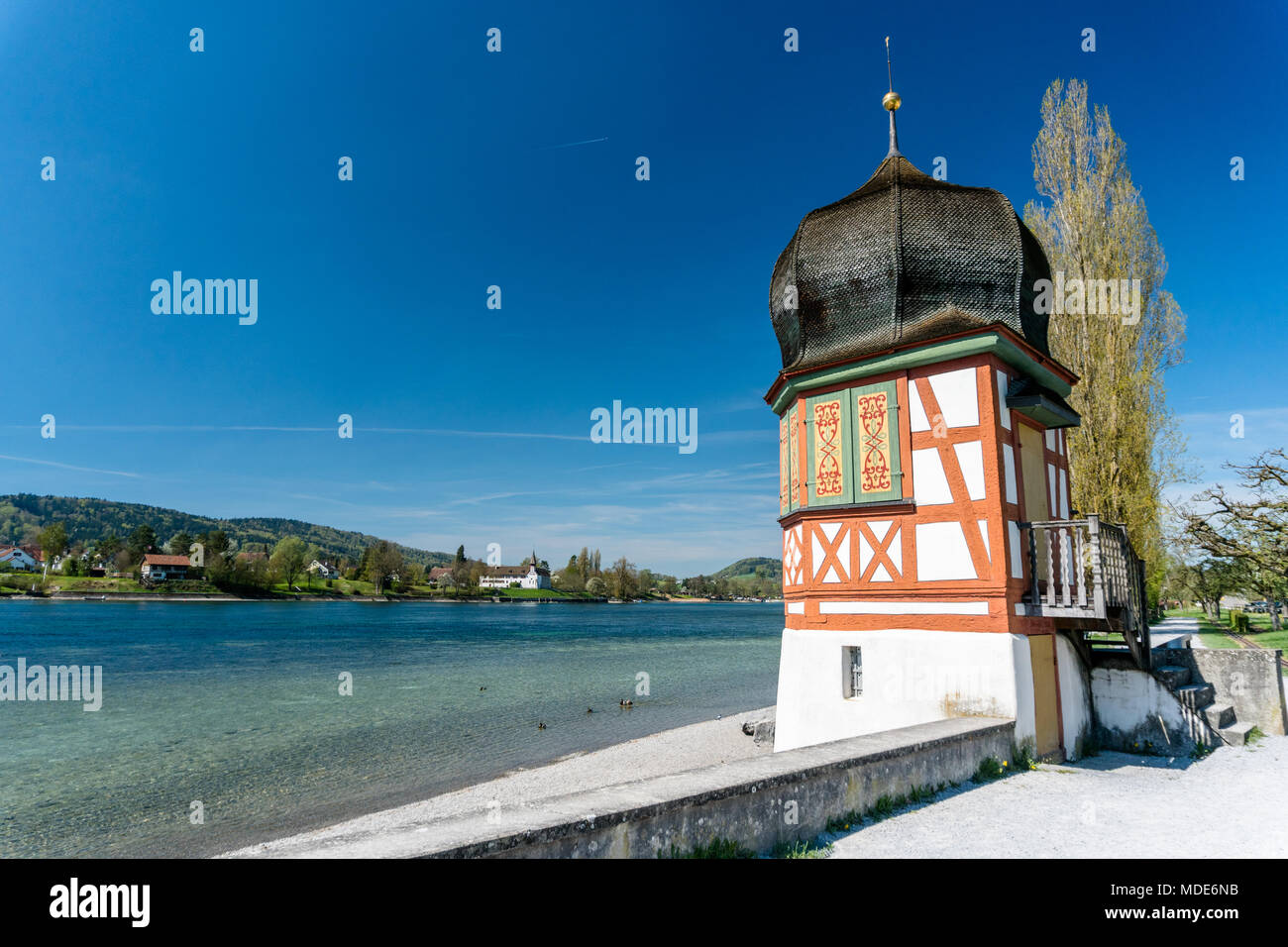 old medieval guard tower on the Rhine outside of the town of Stein Am Rhein - Stock Image
