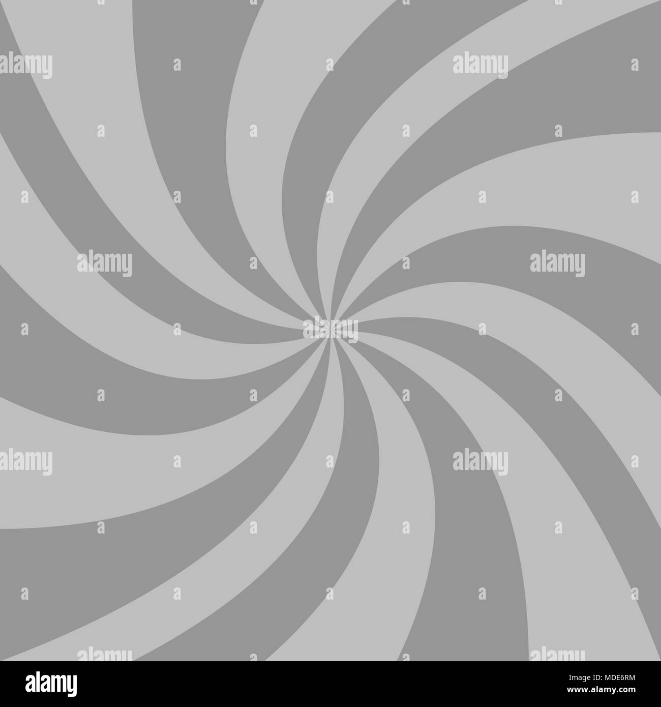 Spiral background from grey curved ray stripes - Stock Image