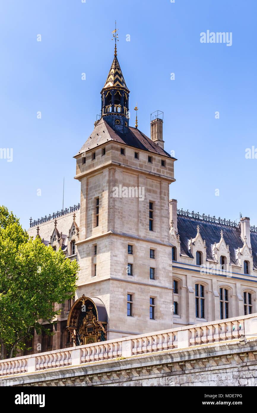 Fragment of the Concierge and Pont au Change. Paris. France - Stock Image