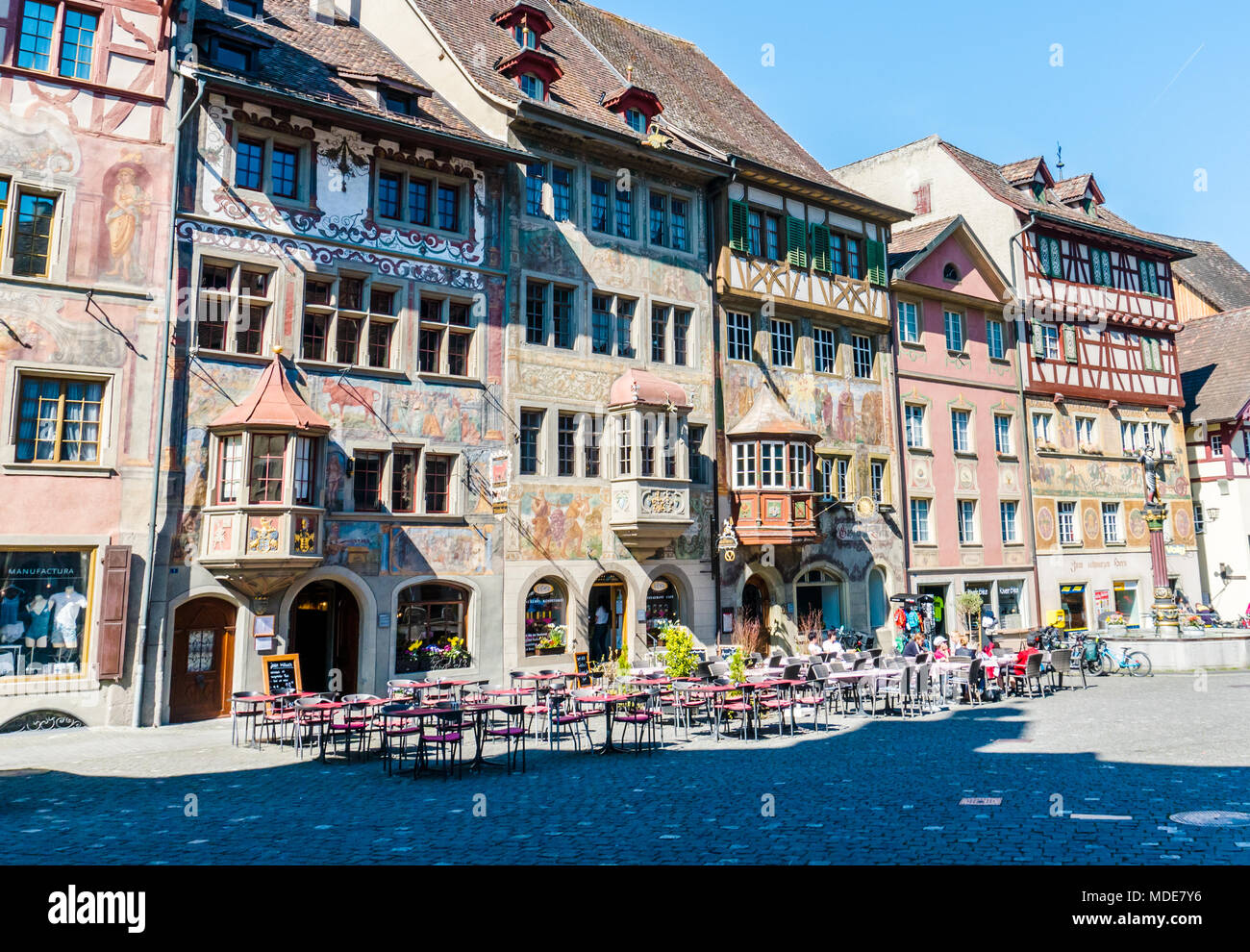Town Square Of Stain Am Rhein With Typical Architecture And Fresco Painting  On A Beautiful And