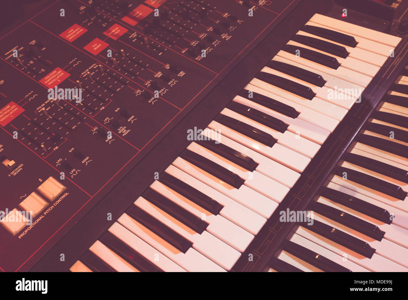 Old synthesizer used to create beautiful music - Stock Image
