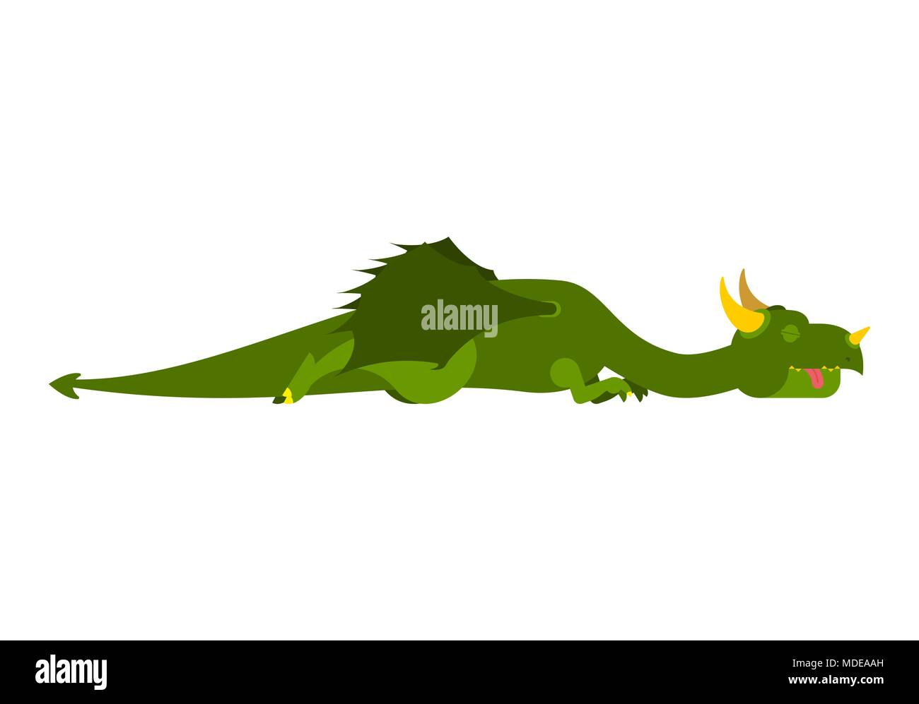 Sleeping dragon. Mythical monster asleep. Vector illustration - Stock Image
