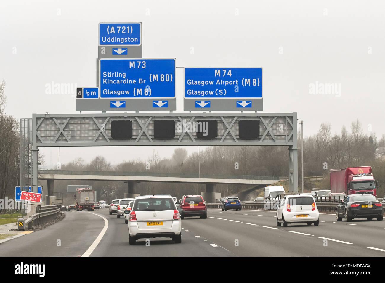 M74 motorway junction 4 for M73, Scotland, UK Stock Photo