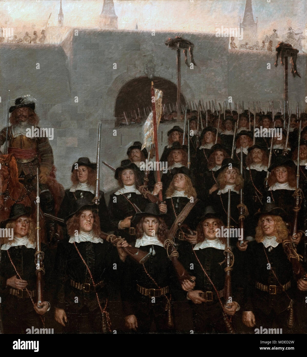 Zahrtmann Kristian - Students Leave to Defend Copenhagen In 1658 Stock Photo