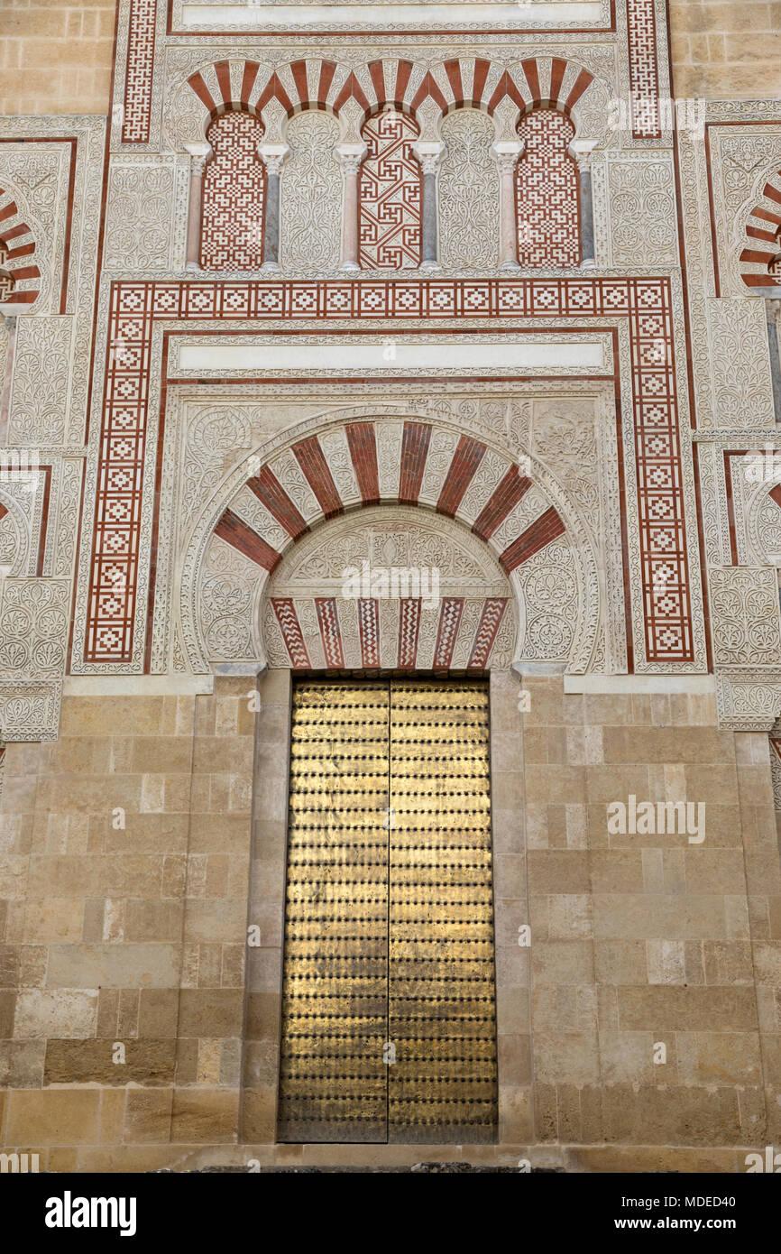 Moorish style doorway on outside wall of the Mezquita of Cordoba, Cordoba, Andalucia, Spain, Europe - Stock Image